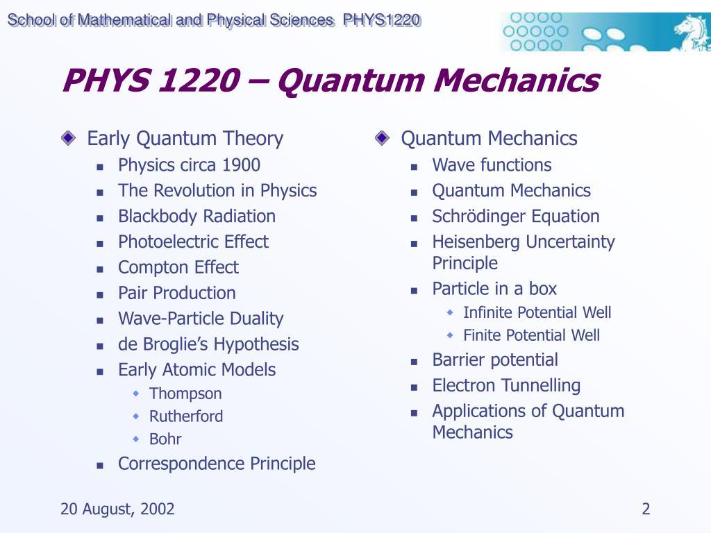 Application of quantum mechanics in physics