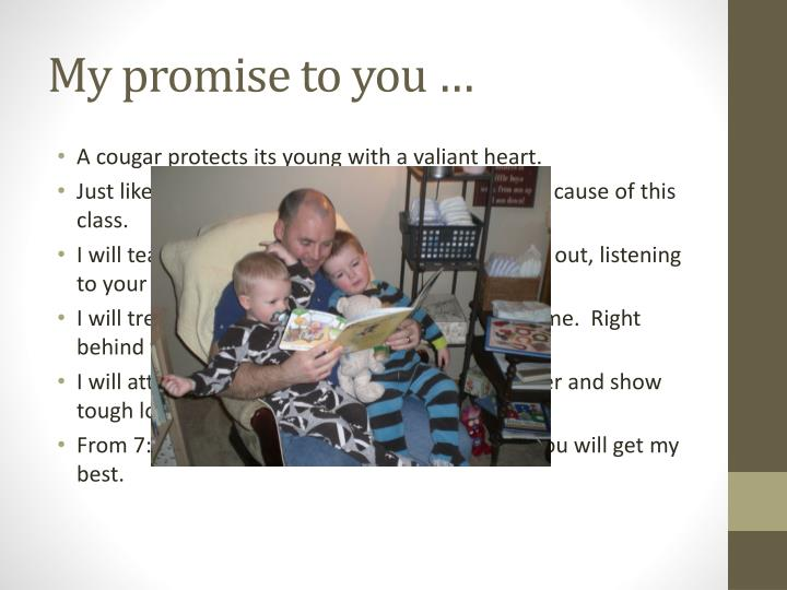 My promise to you …