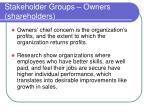 stakeholder groups owners shareholders