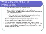 what is the role of the hr professional