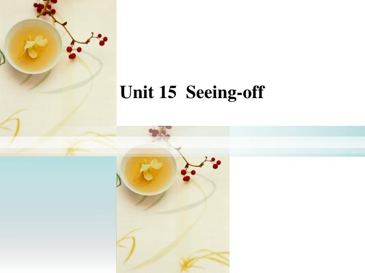 Unit 15  Seeing-off