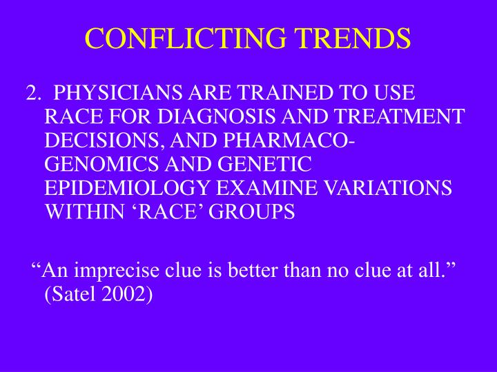 CONFLICTING TRENDS