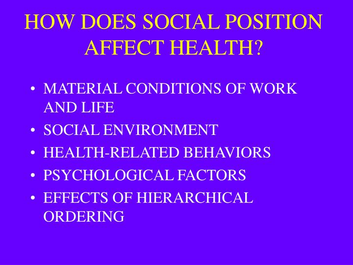HOW DOES SOCIAL POSITION AFFECT HEALTH?