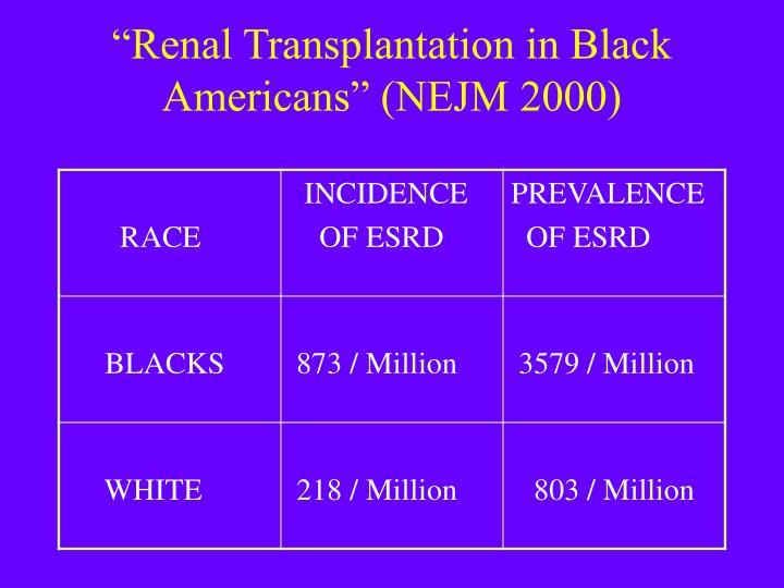 """Renal Transplantation in Black Americans"" (NEJM 2000)"