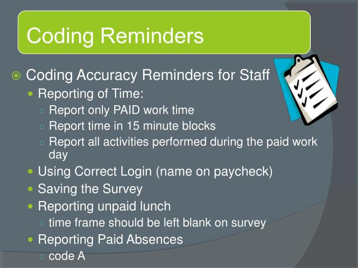 Coding Accuracy Reminders for Staff