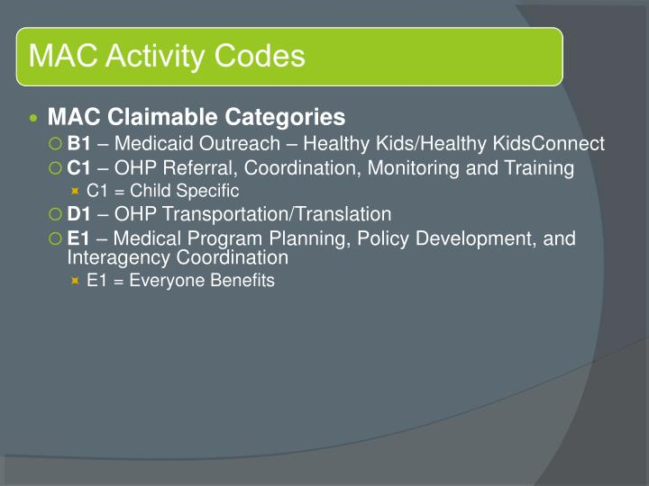 MAC Claimable Categories