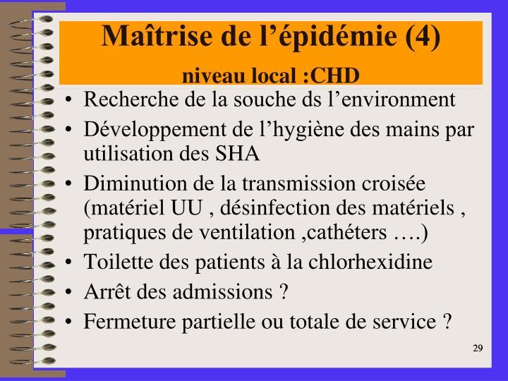 Maîtrise de l'épidémie (4)