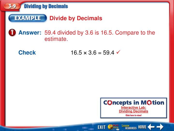 Divide by Decimals