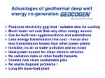 advantages of geothermal deep well energy co generation