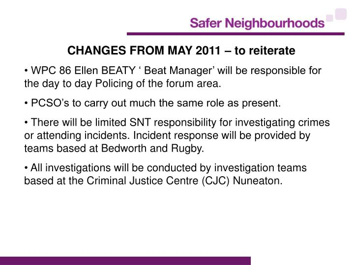 CHANGES FROM MAY 2011 – to reiterate