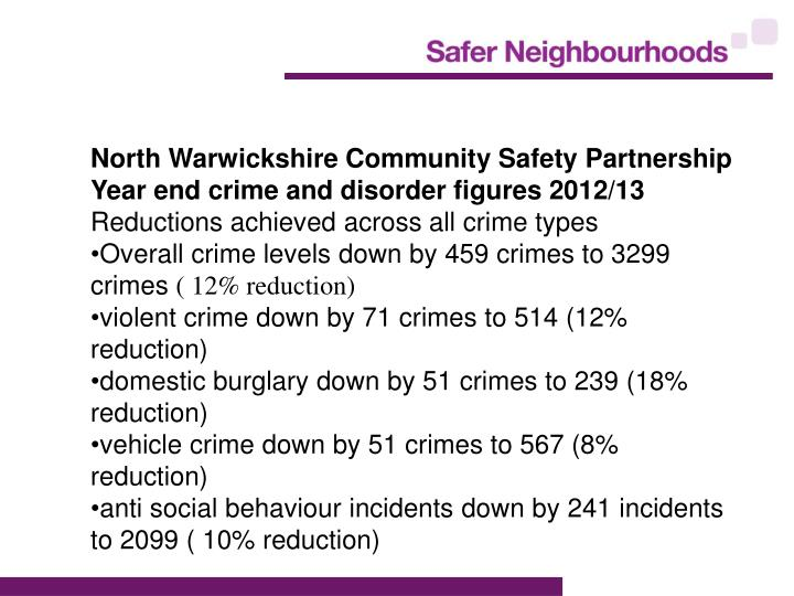 North Warwickshire Community Safety Partnership Year end crime and disorder figures 2012/13