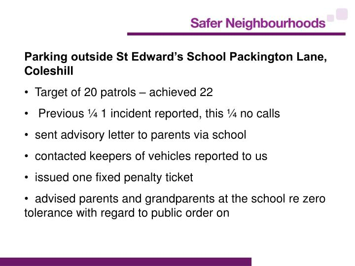 Parking outside St Edward's School Packington Lane, Coleshill