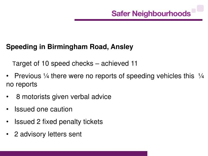 Speeding in Birmingham Road, Ansley