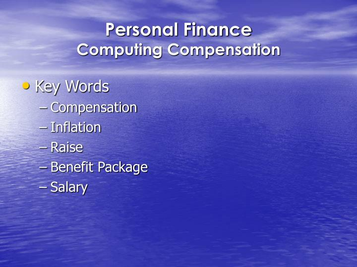 personal finance computing compensation n.