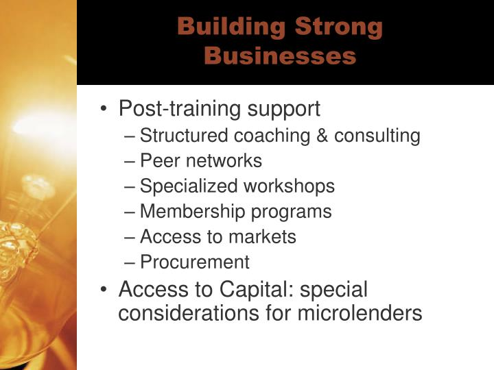 Building Strong Businesses