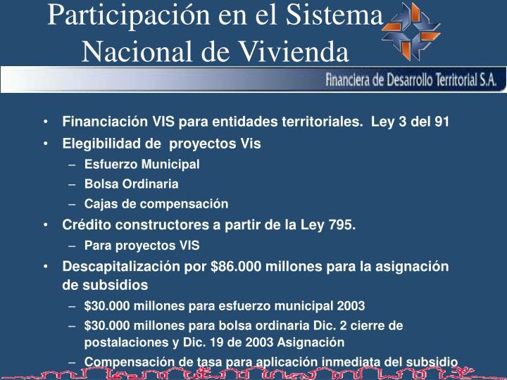 Participaci n en el sistema nacional de vivienda