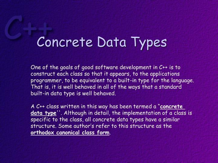 Concrete Data Types