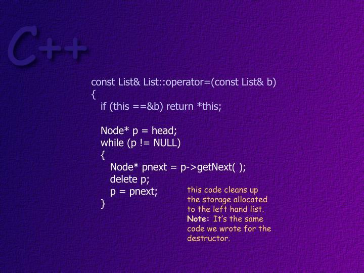 const List& List::operator=(const List& b)