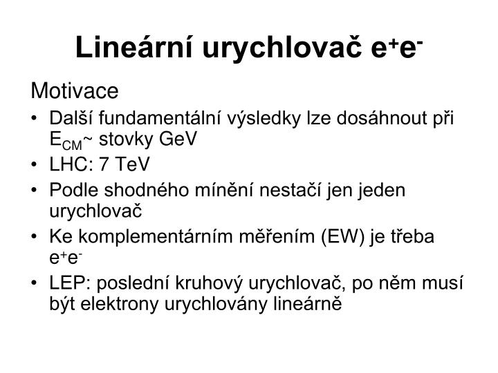 Lineární urychlovač e
