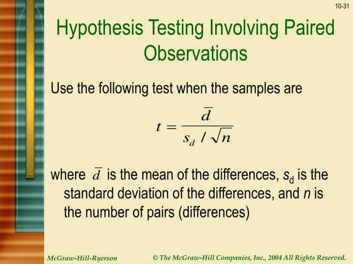 Hypothesis Testing Involving Paired Observations