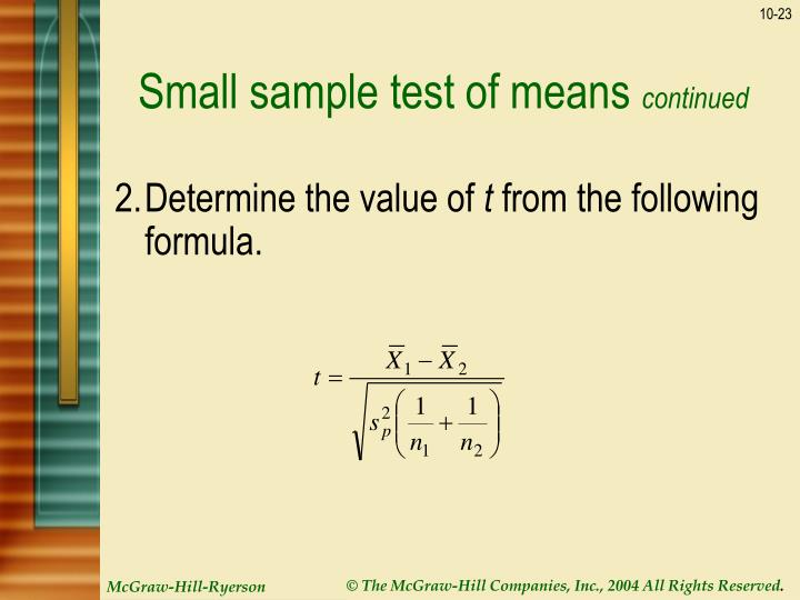 Small sample test of means