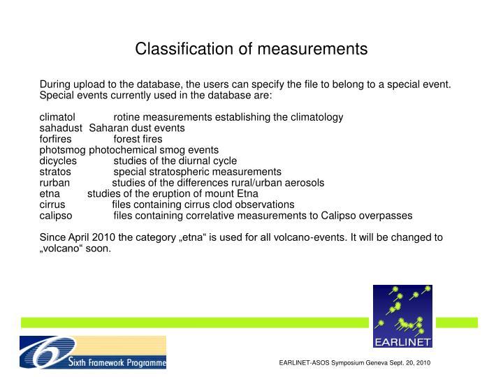 Classification of measurements