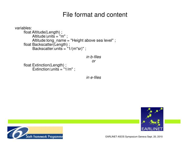 File format and content