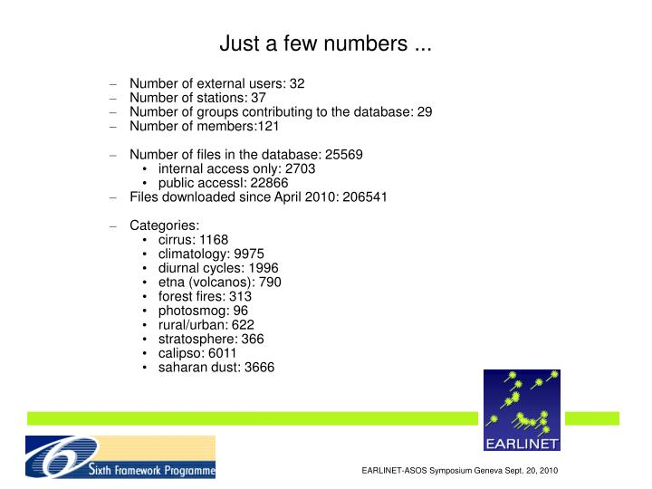 Just a few numbers ...