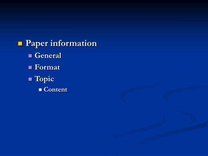 Paper information