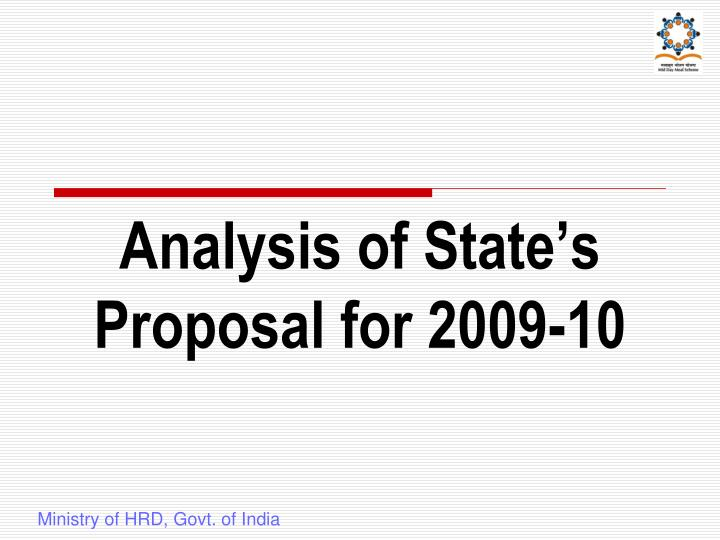 Analysis of State's Proposal for 2009-10