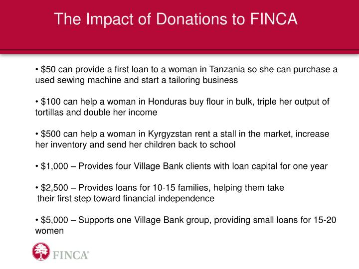 The Impact of Donations to FINCA