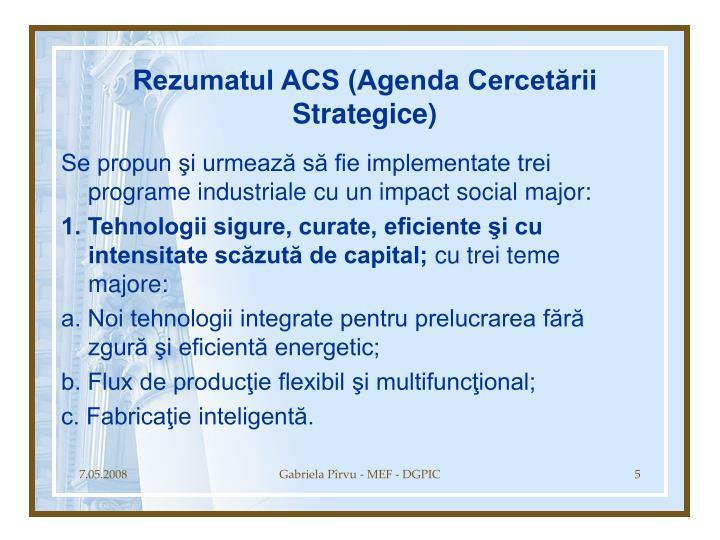 Rezumatul ACS (Agenda Cercetării Strategice)
