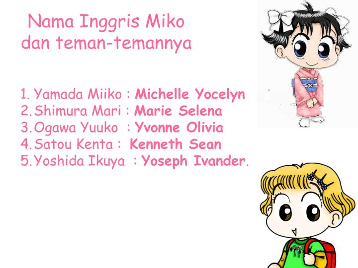 Nama Inggris Miko dan teman-temannya