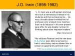 j o irwin 1898 1982