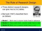 the role of research design