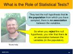 what is the role of statistical tests
