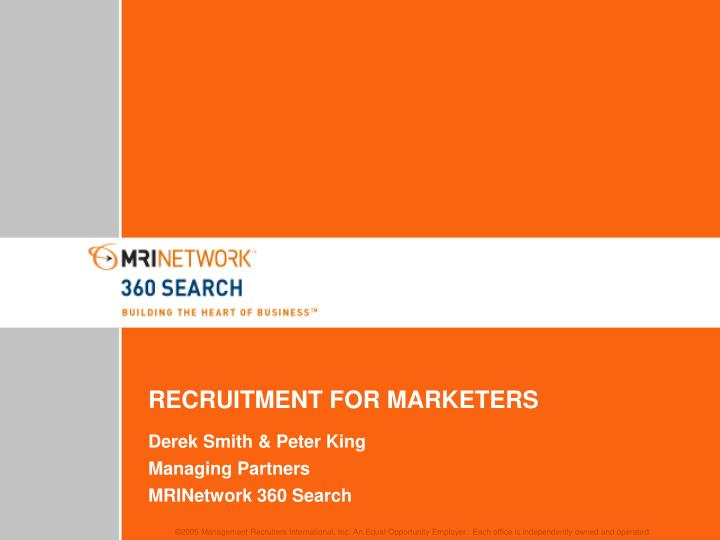 recruitment for marketers n.