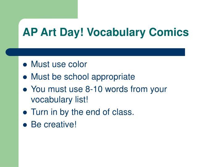 AP Art Day! Vocabulary Comics