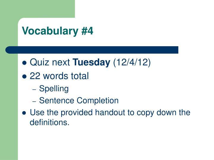 Vocabulary #4