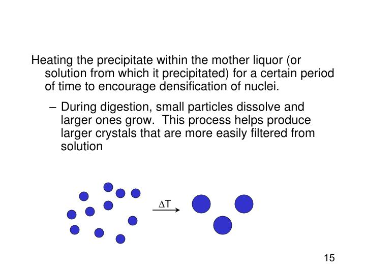 Heating the precipitate within the mother liquor (or solution from which it precipitated) for a certain period of time to encourage densification of nuclei.