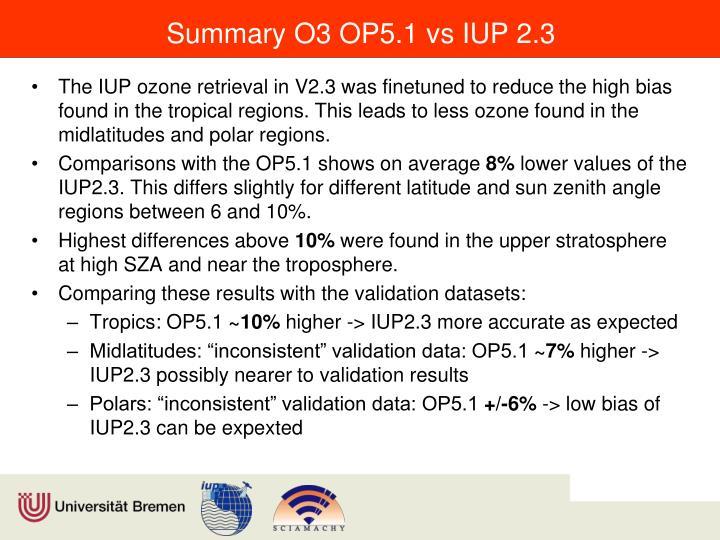 Summary O3 OP5.1 vs IUP 2.3