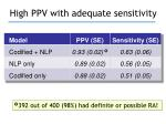 high ppv with adequate sensitivity