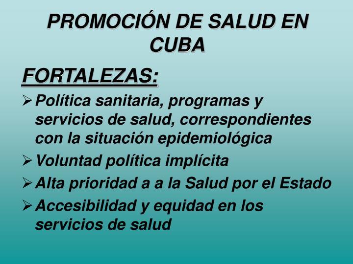 PROMOCIÓN DE SALUD EN CUBA