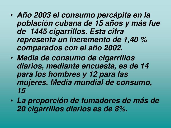Año 2003 el consumo percápita en la población cubana de 15 años y más fue de  1445 cigarrillos. Esta cifra representa un incremento de 1,40 % comparados con el año 2002.
