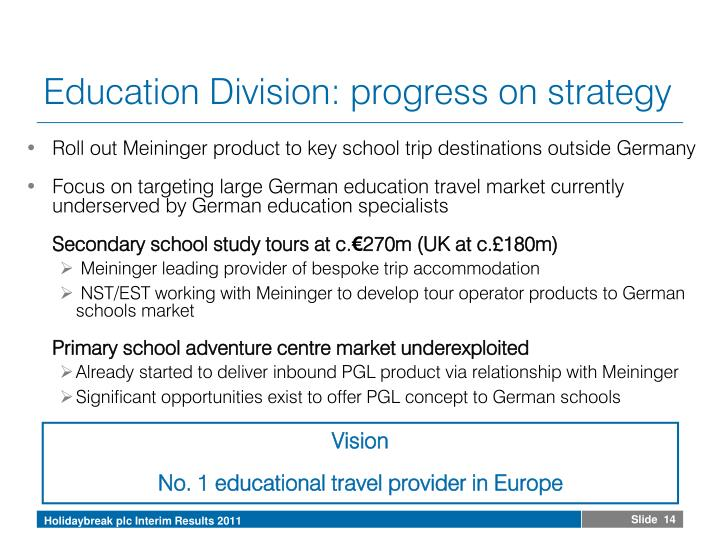 Education Division: progress on strategy