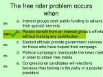 the free rider problem occurs when