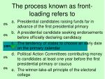 the process known as front loading refers to