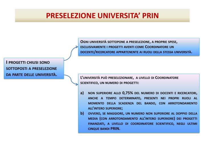 Ogni università sottopone a preselezione, a proprie spese, esclusivamente i progetti aventi come Coordinatore un docente/ricercatore appartenente ai ruoli della stessa università.