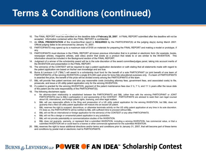 Terms & Conditions (continued)