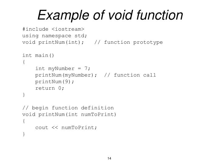 Example of void function